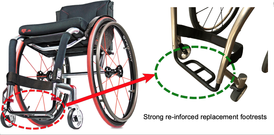 Replacement RGK footrest wheelchair