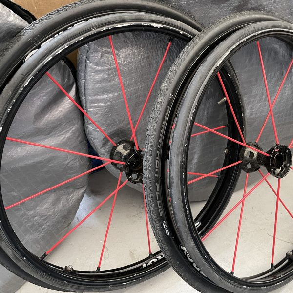 Red spinergy wheelchair wheels